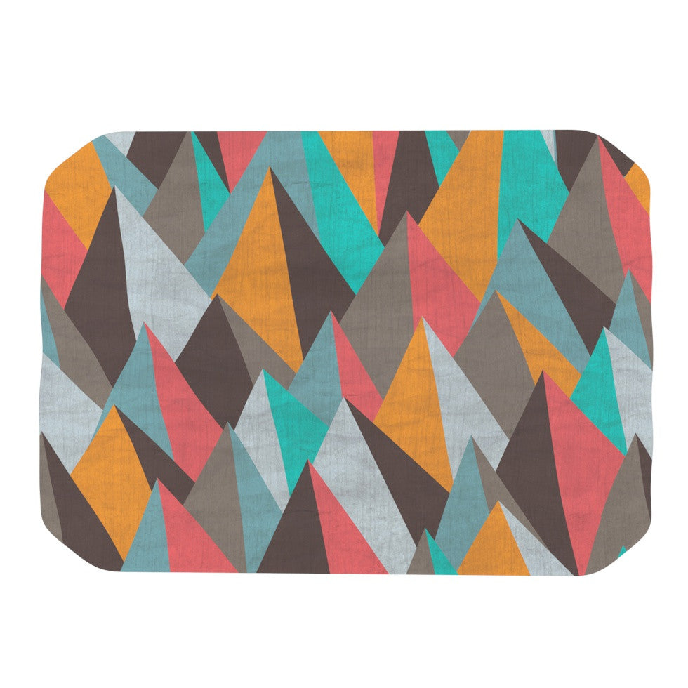 "Michelle Drew ""Mountain Peaks I"" Orange Teal Place Mat - KESS InHouse"