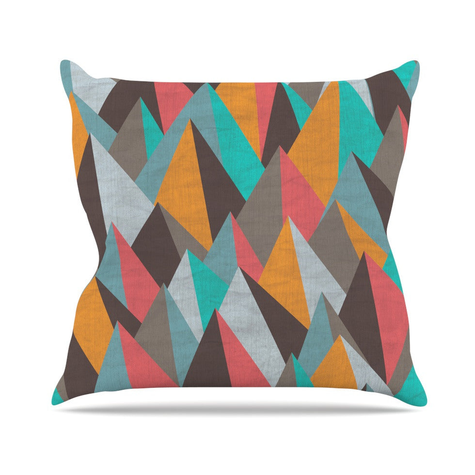 "Michelle Drew ""Mountain Peaks I"" Orange Teal Outdoor Throw Pillow - KESS InHouse  - 1"