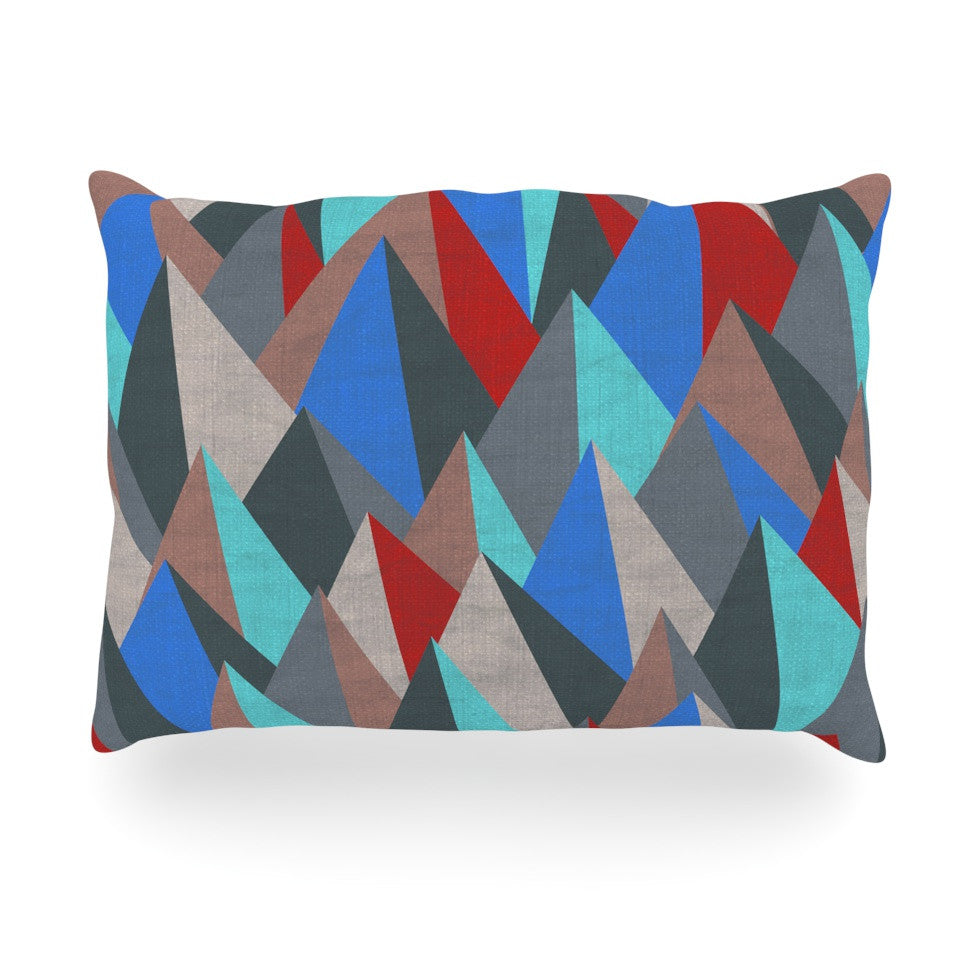 "Michelle Drew ""Mountain Peaks II"" Blue Red Oblong Pillow - KESS InHouse"