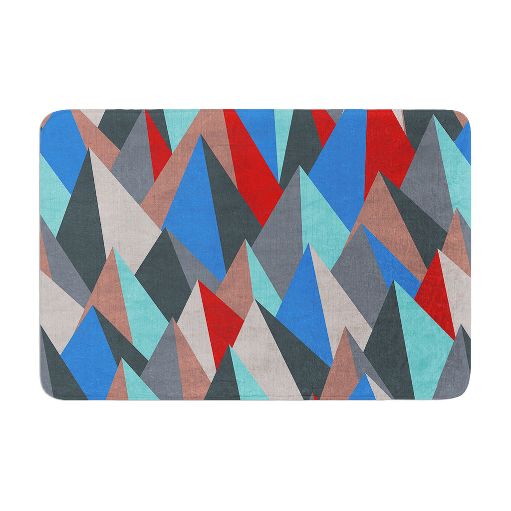 "Michelle Drew ""Mountain Peaks II"" Blue Red Memory Foam Bath Mat - KESS InHouse"