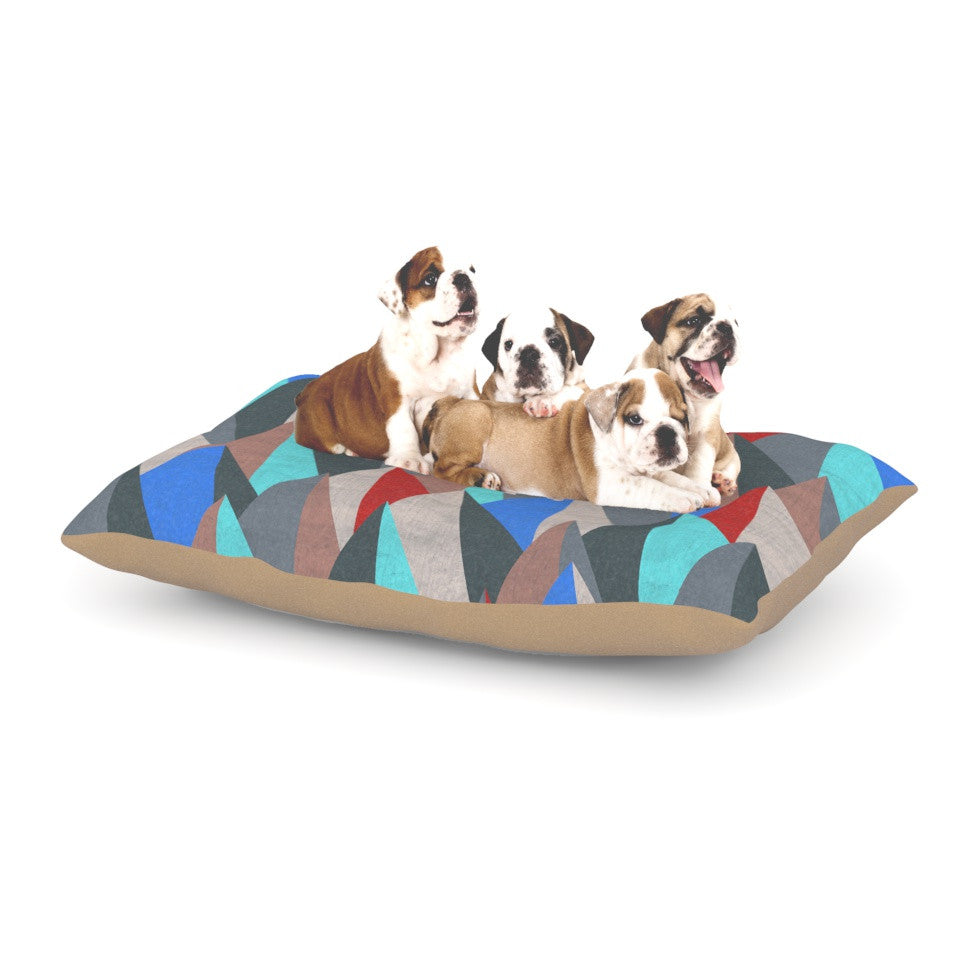 "Michelle Drew ""Mountain Peaks II"" Blue Red Dog Bed - KESS InHouse  - 1"