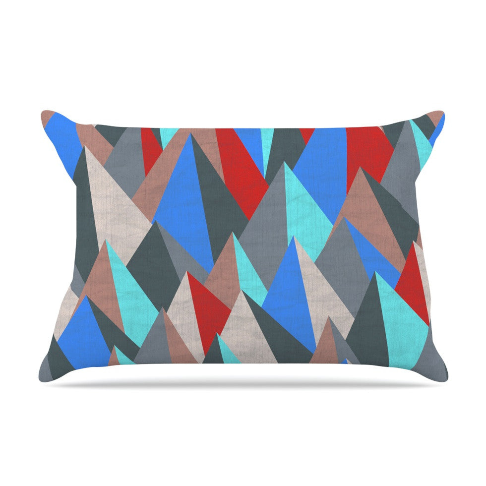 "Michelle Drew ""Mountain Peaks II"" Blue Red Pillow Sham - KESS InHouse"
