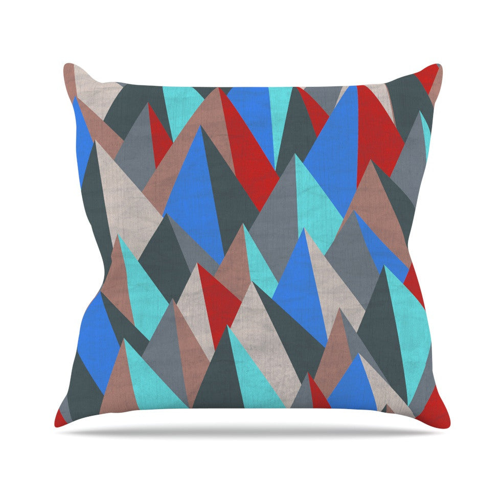 "Michelle Drew ""Mountain Peaks II"" Blue Red Outdoor Throw Pillow - KESS InHouse  - 1"
