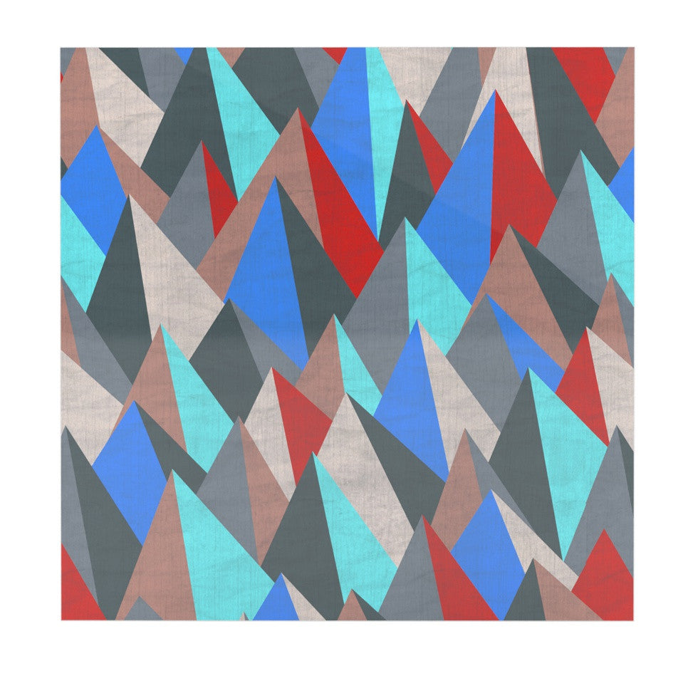 "Michelle Drew ""Mountain Peaks II"" Blue Red Luxe Square Panel - KESS InHouse  - 1"