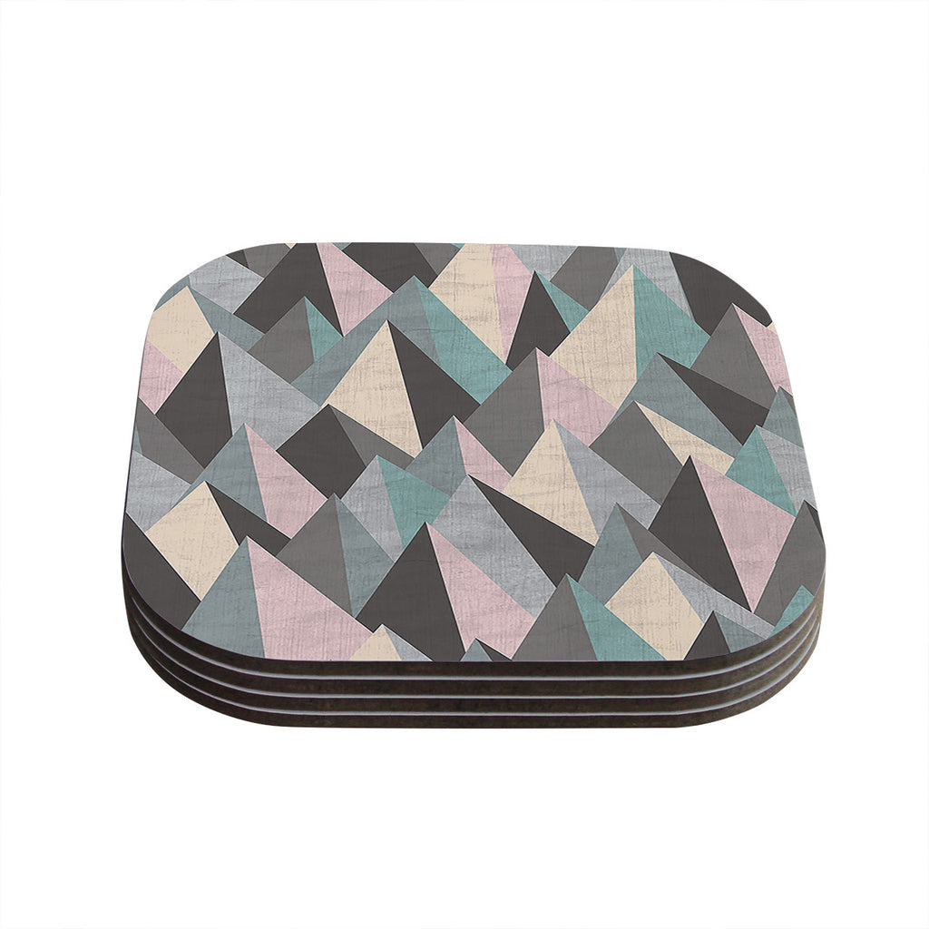 "Michelle Drew ""Mountain Peaks III"" Pastel Geometric Coasters (Set of 4)"