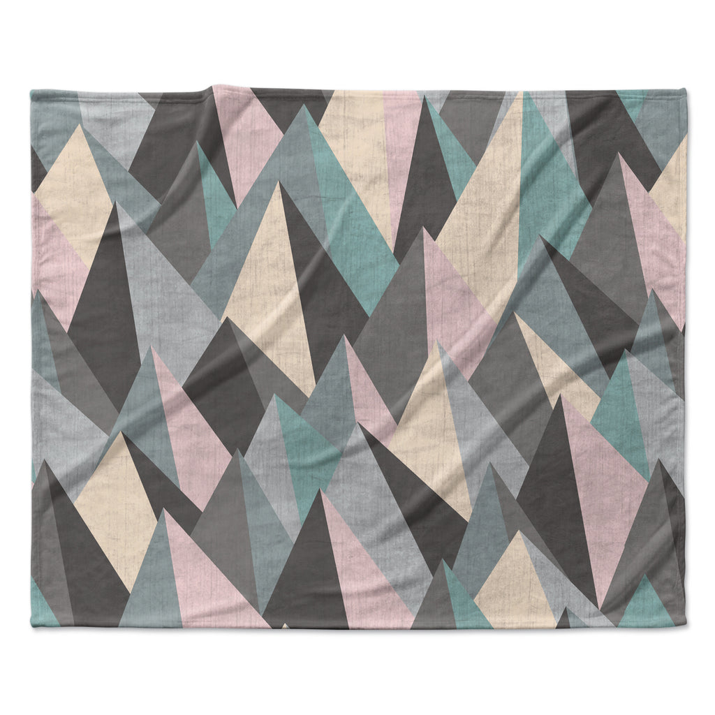 "Michelle Drew ""Mountain Peaks III"" Pastel Geometric Fleece Throw Blanket"