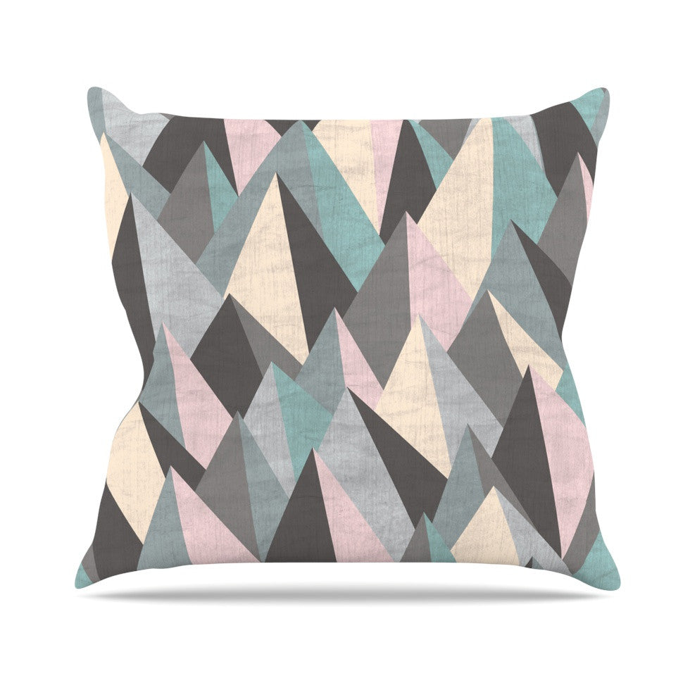 "Michelle Drew ""Mountain Peaks III"" Pastel Geometric Outdoor Throw Pillow - KESS InHouse  - 1"