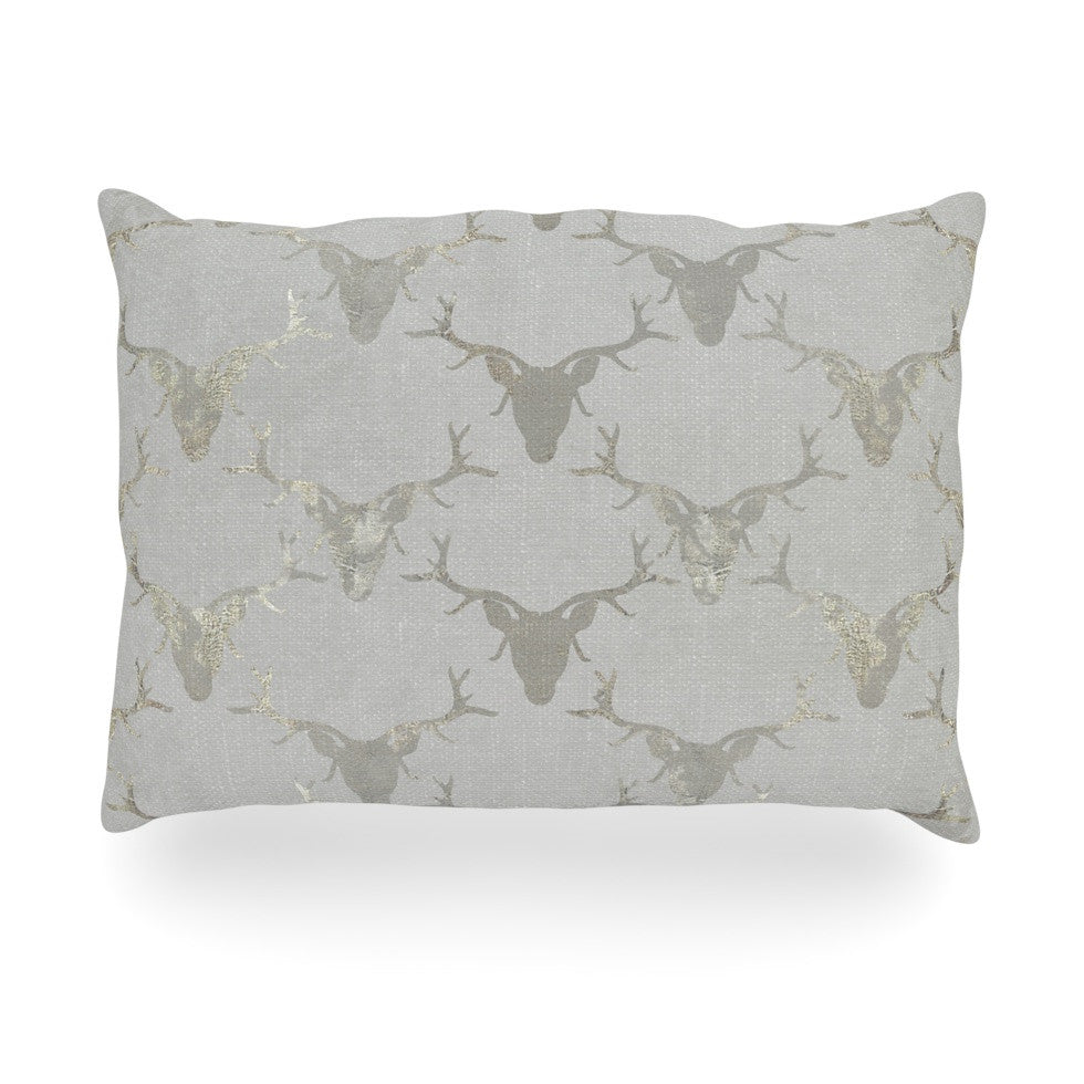 "Michelle Drew ""Gilded Stags"" Gray Oblong Pillow - KESS InHouse"