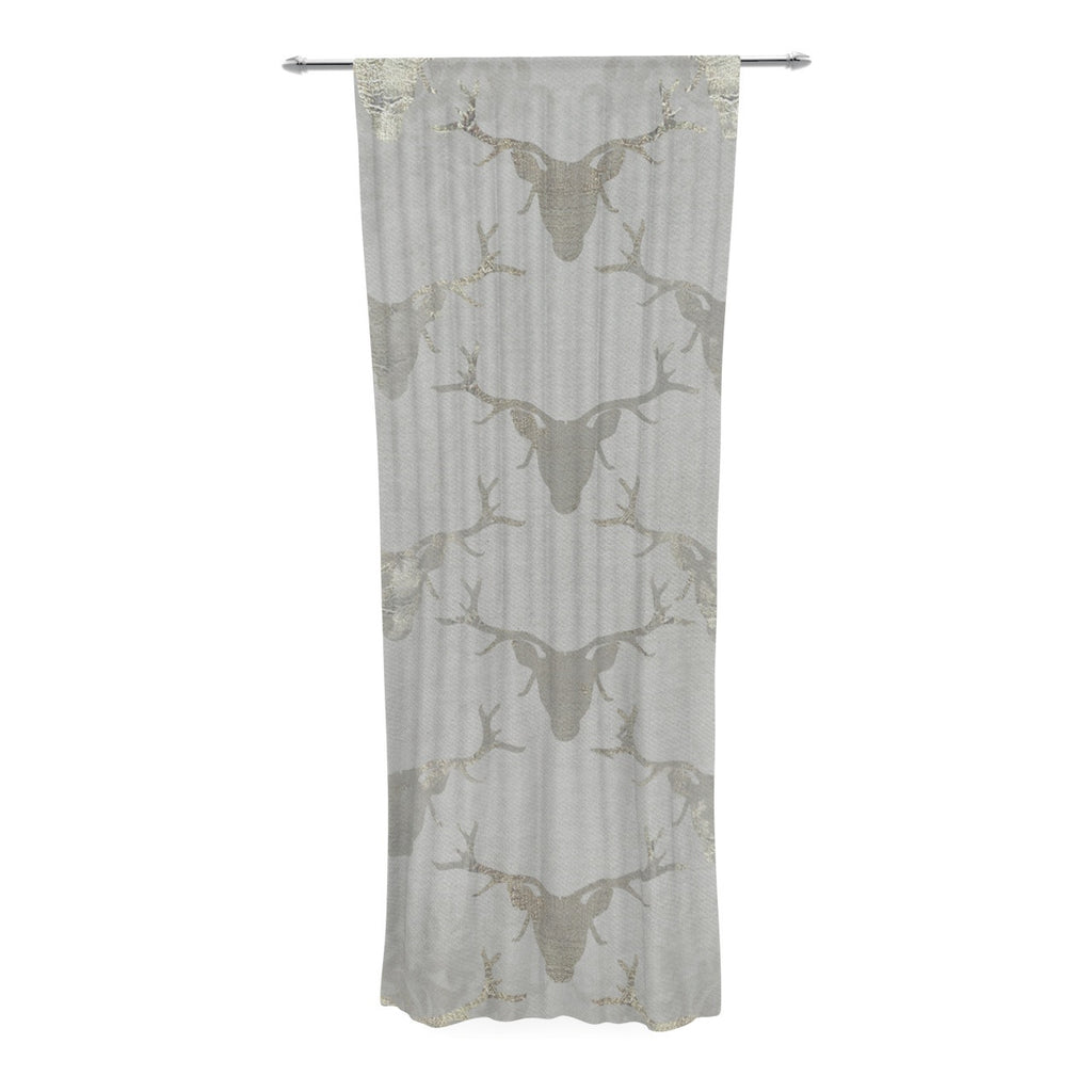 "Michelle Drew ""Gilded Stags"" Gray Decorative Sheer Curtain - KESS InHouse  - 1"