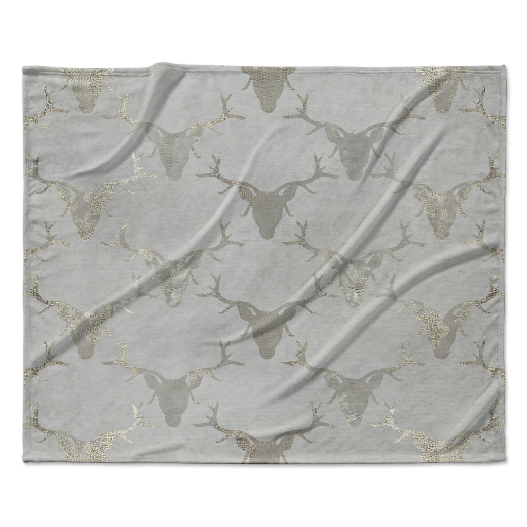 "Michelle Drew ""Gilded Stags"" Gray Fleece Throw Blanket"