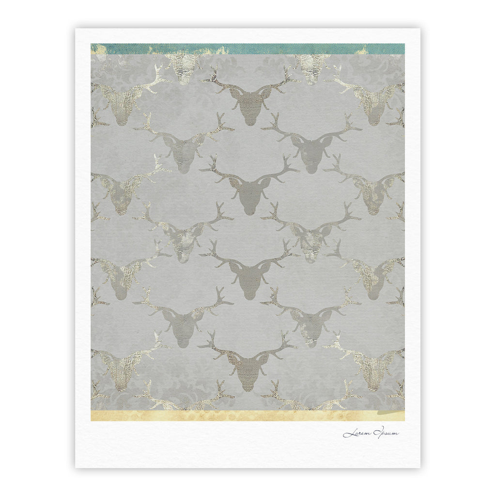 "Michelle Drew ""Gilded Stags"" Gray Fine Art Gallery Print - KESS InHouse"