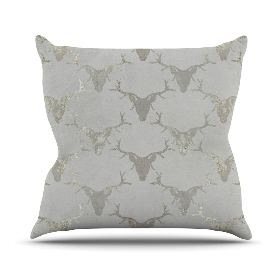 "Michelle Drew ""Gilded Stags"" Gray Outdoor Throw Pillow - KESS InHouse  - 1"