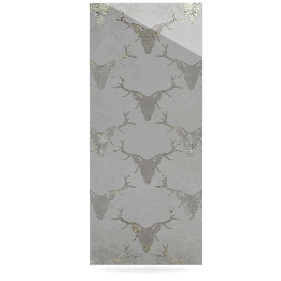 "Michelle Drew ""Gilded Stags"" Gray Luxe Rectangle Panel - KESS InHouse  - 1"