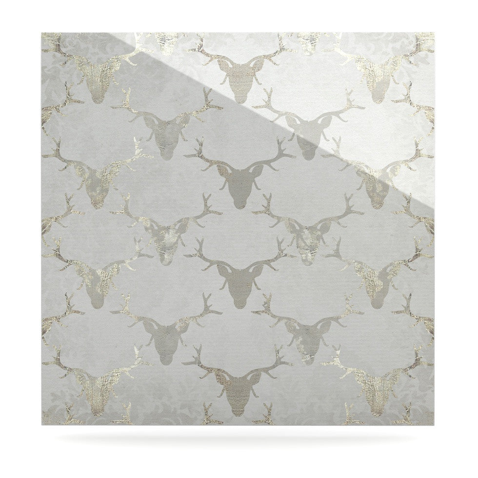 "Michelle Drew ""Gilded Stags"" Gray Luxe Square Panel - KESS InHouse  - 1"