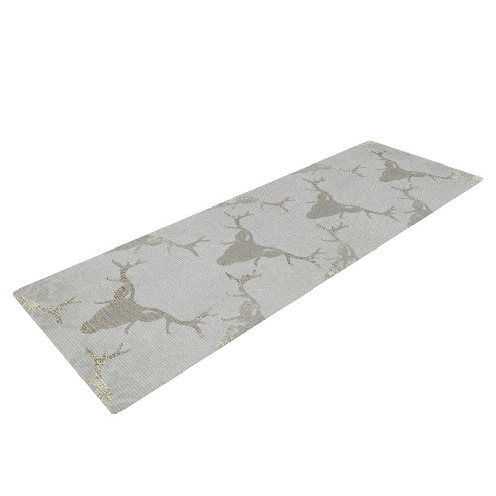 "Michelle Drew ""Gilded Stags"" Gray Yoga Mat - KESS InHouse  - 1"