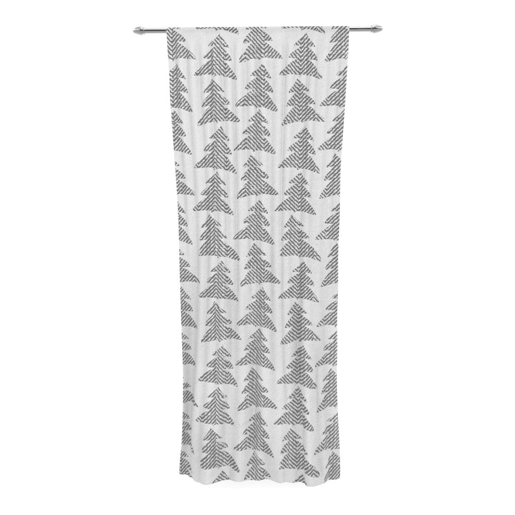 "Michelle Drew ""Herringbone Forest Black"" Gray White Decorative Sheer Curtain - KESS InHouse  - 1"