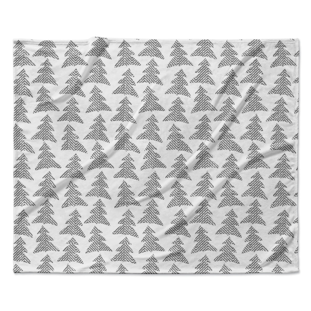 "Michelle Drew ""Herringbone Forest Black"" Gray White Fleece Throw Blanket"