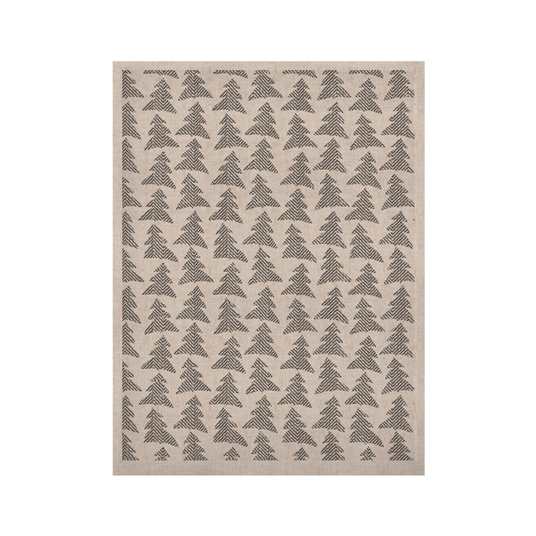"Michelle Drew ""Herringbone Forest Black"" Gray White KESS Naturals Canvas (Frame not Included) - KESS InHouse  - 1"