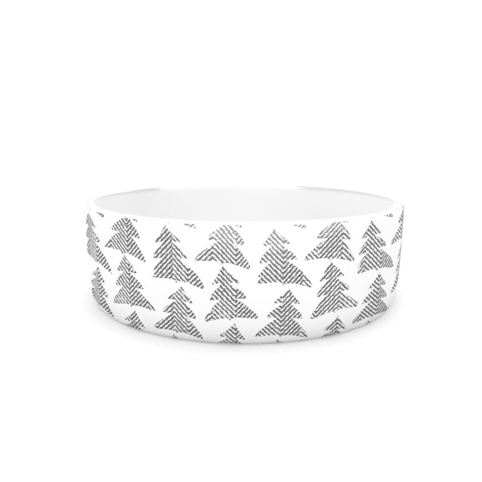 "Michelle Drew ""Herringbone Forest Black"" Gray White Pet Bowl - KESS InHouse"