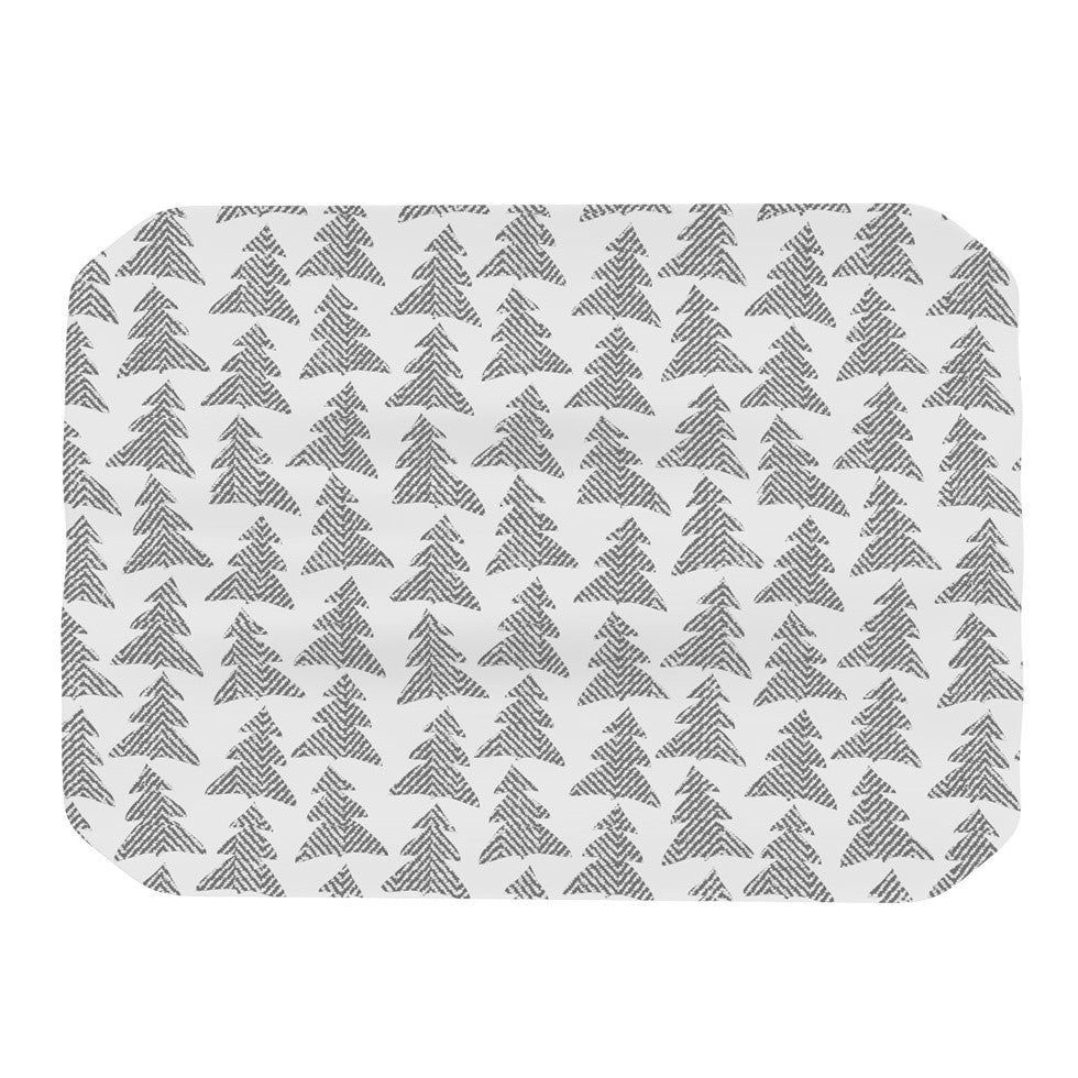 "Michelle Drew ""Herringbone Forest Black"" Gray White Place Mat - KESS InHouse"