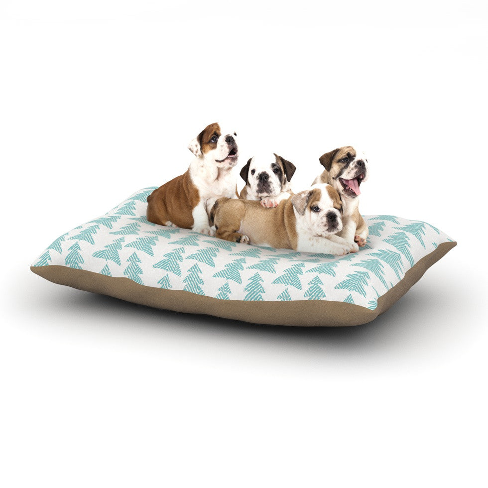 "Michelle Drew ""Herringbone Forest Teal"" Blue Dog Bed - KESS InHouse  - 1"
