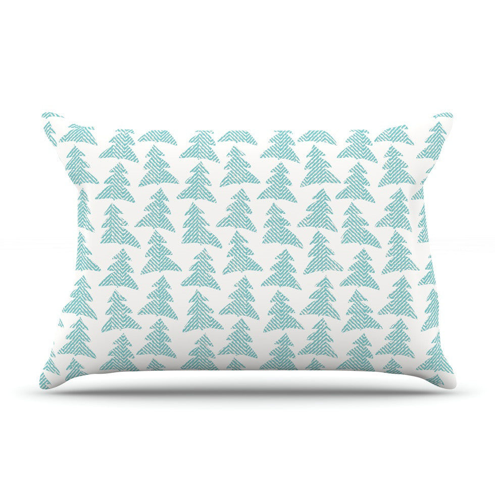 "Michelle Drew ""Herringbone Forest Teal"" Blue Pillow Sham - KESS InHouse"