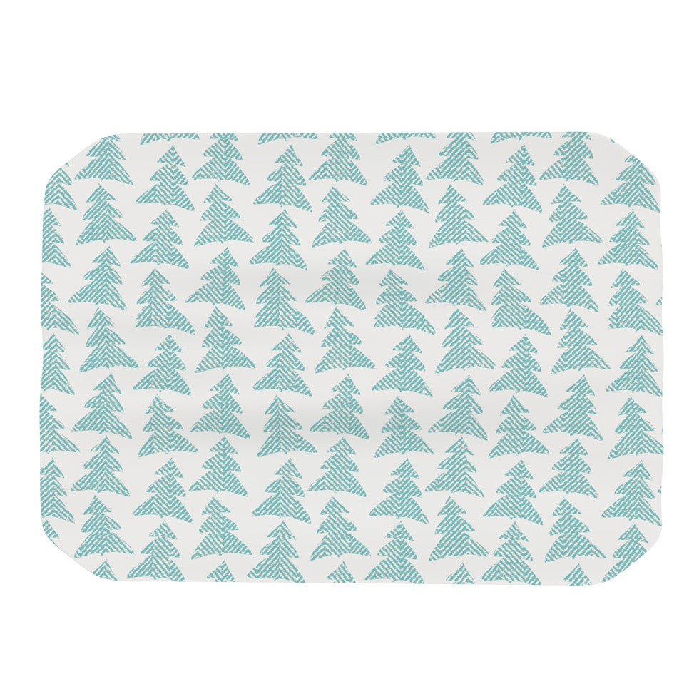 "Michelle Drew ""Herringbone Forest Teal"" Blue Place Mat - KESS InHouse"