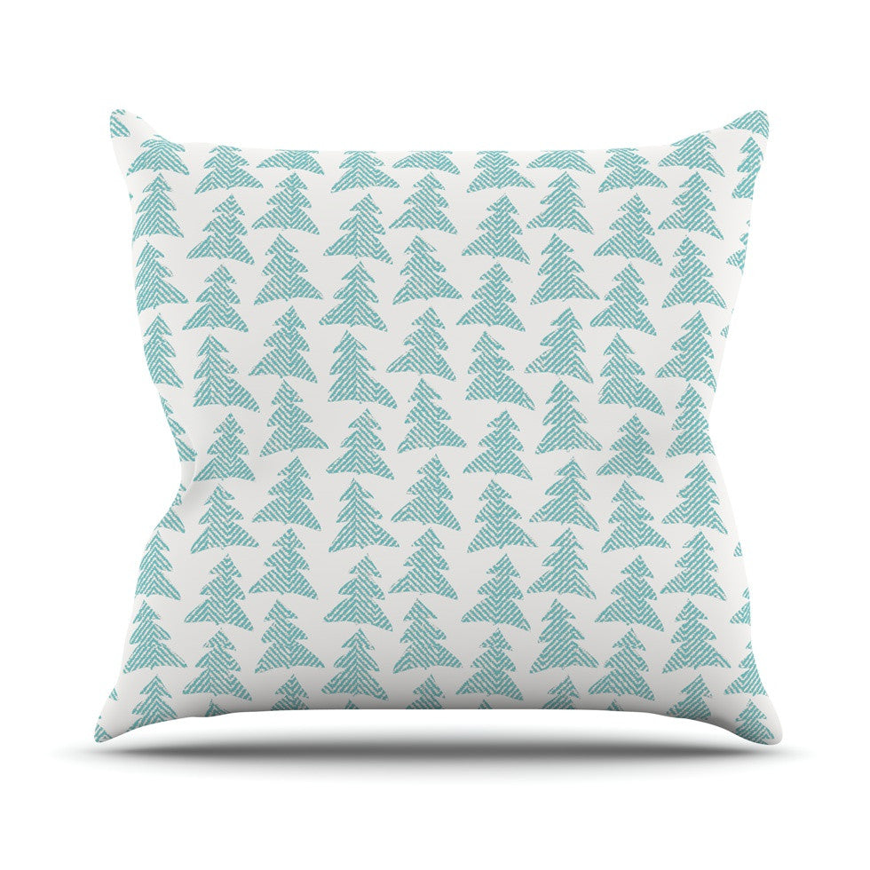 "Michelle Drew ""Herringbone Forest Teal"" Blue Outdoor Throw Pillow - KESS InHouse  - 1"