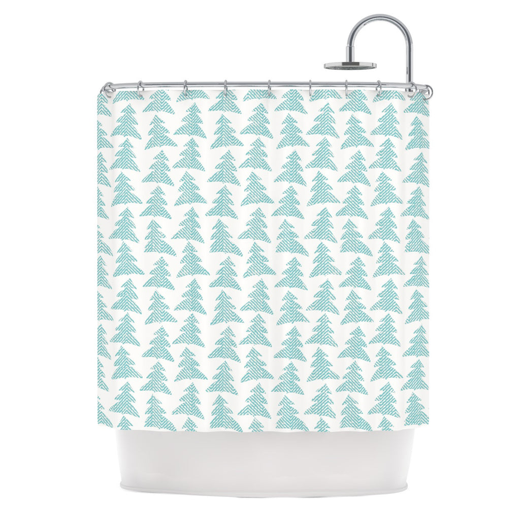 "Michelle Drew ""Herringbone Forest Teal"" Blue Shower Curtain - KESS InHouse"