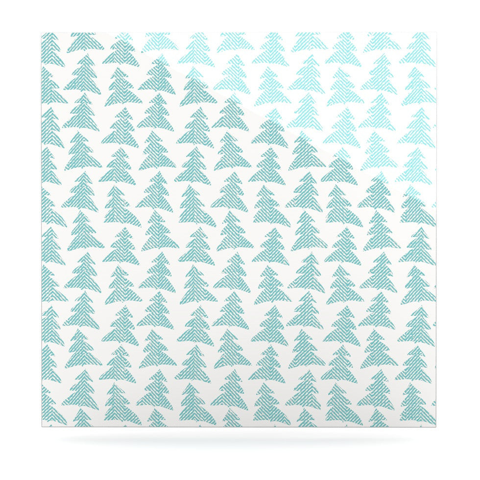 "Michelle Drew ""Herringbone Forest Teal"" Blue Luxe Square Panel - KESS InHouse  - 1"