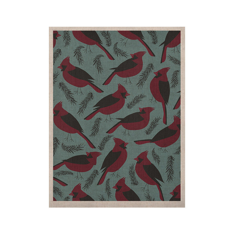 "Michelle Drew ""Red Winter Birds"" Teal KESS Naturals Canvas (Frame not Included) - KESS InHouse  - 1"