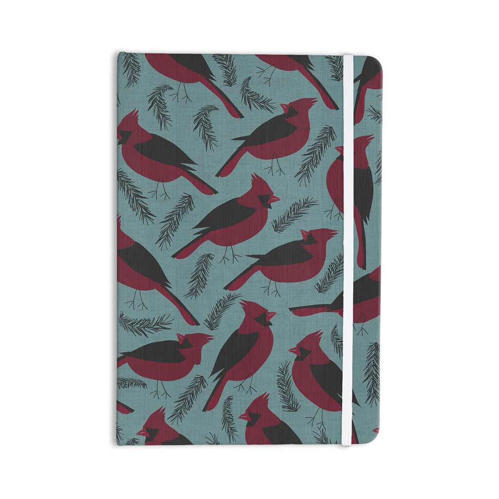 "Michelle Drew ""Red Winter Birds"" Teal Everything Notebook - KESS InHouse  - 1"