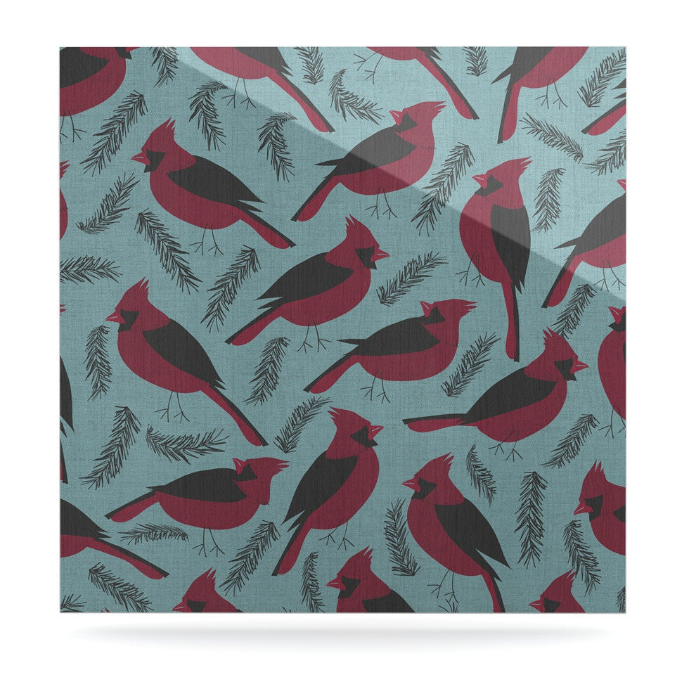 "Michelle Drew ""Red Winter Birds"" Teal Luxe Square Panel - KESS InHouse  - 1"