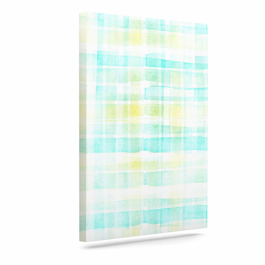 "Michelle Drew ""Watercolour Tartan In Blues"" Teal Green Canvas Art - KESS InHouse  - 1"