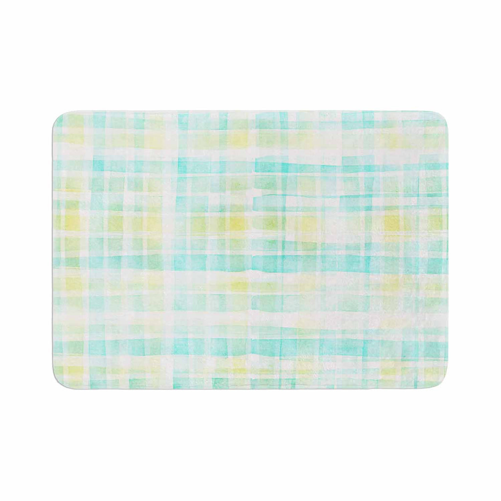 "Michelle Drew ""Watercolour Tartan In Blues"" Teal Green Memory Foam Bath Mat - KESS InHouse"