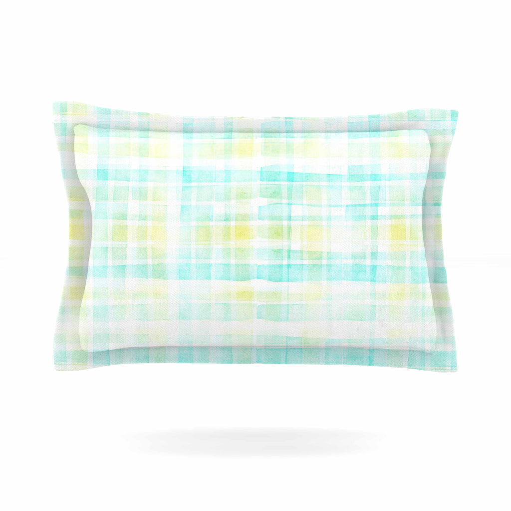 "Michelle Drew ""Watercolour Tartan In Blues"" Teal Green Pillow Sham - KESS InHouse  - 1"
