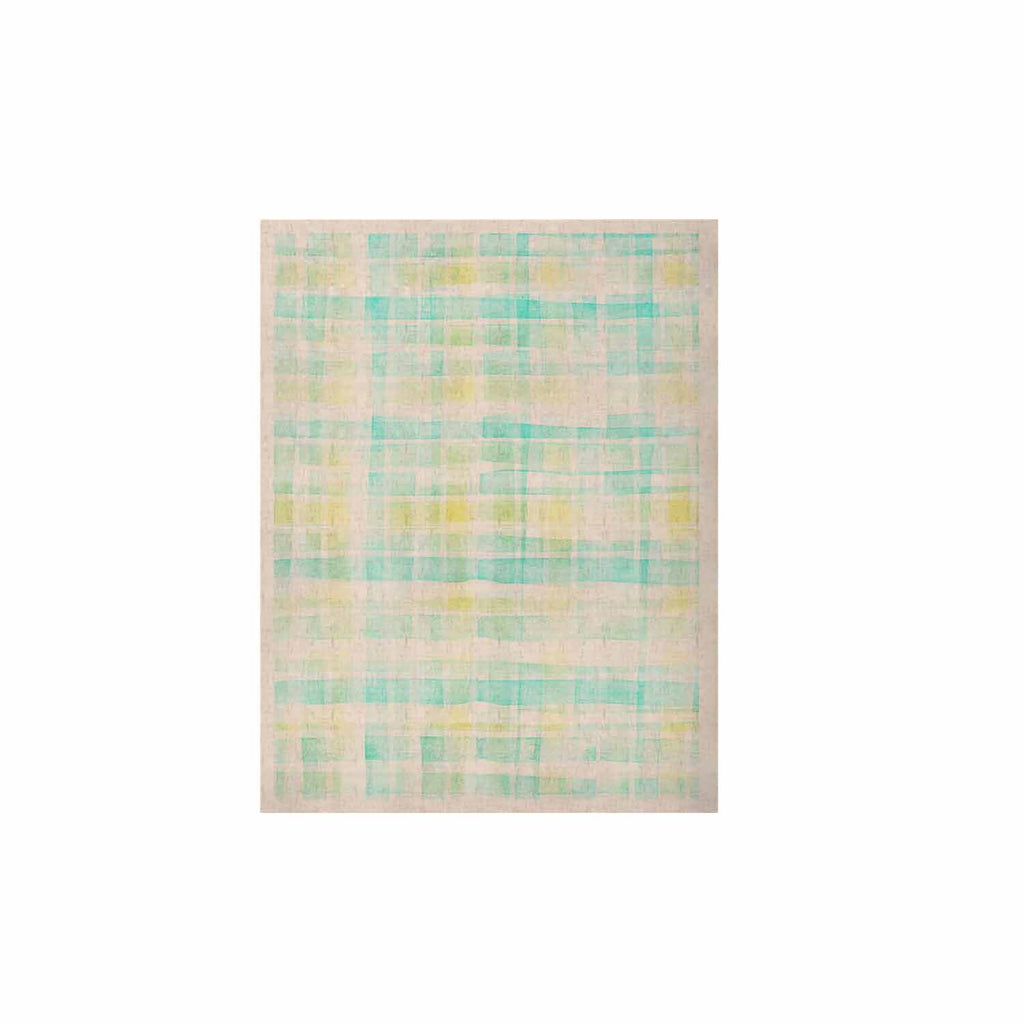 "Michelle Drew ""Watercolour Tartan In Blues"" Teal Green KESS Naturals Canvas (Frame not Included) - KESS InHouse  - 1"