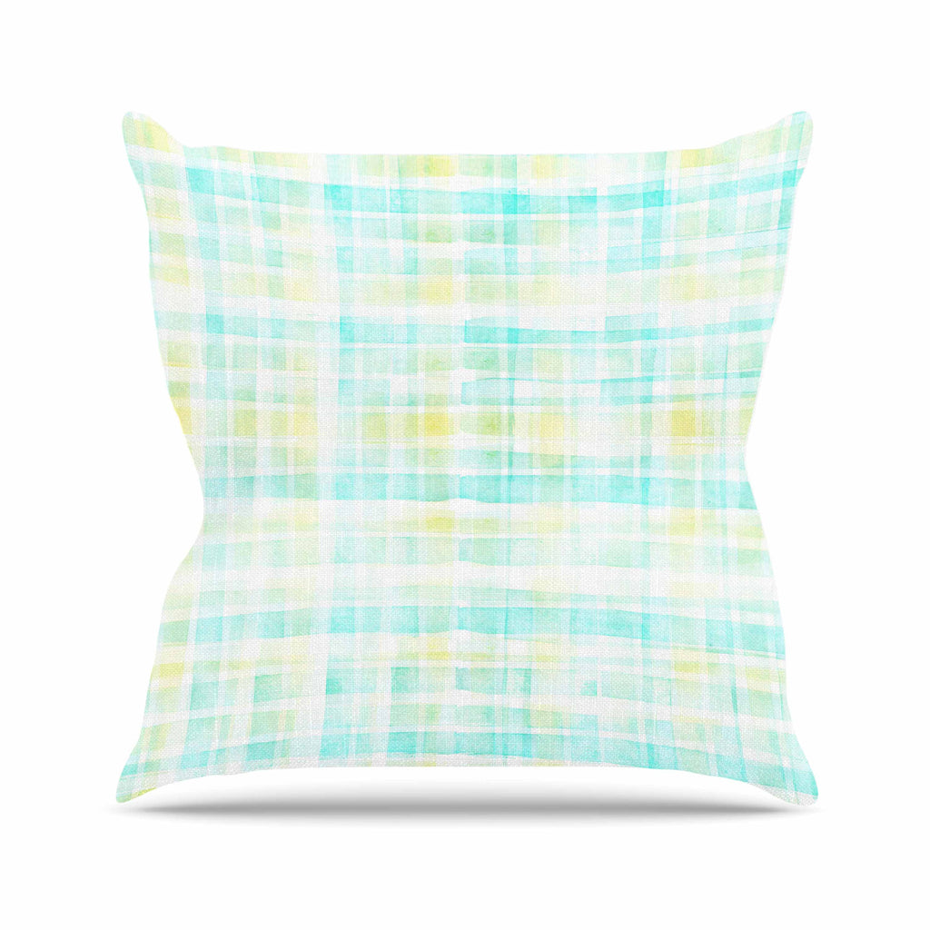 "Michelle Drew ""Watercolour Tartan In Blues"" Teal Green Throw Pillow - KESS InHouse  - 1"