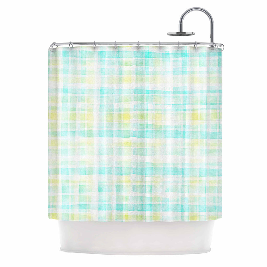 "Michelle Drew ""Watercolour Tartan In Blues"" Teal Green Shower Curtain - KESS InHouse"