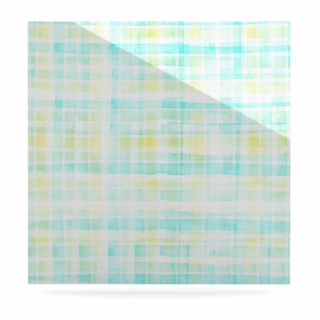 "Michelle Drew ""Watercolour Tartan In Blues"" Teal Green Luxe Square Panel - KESS InHouse  - 1"