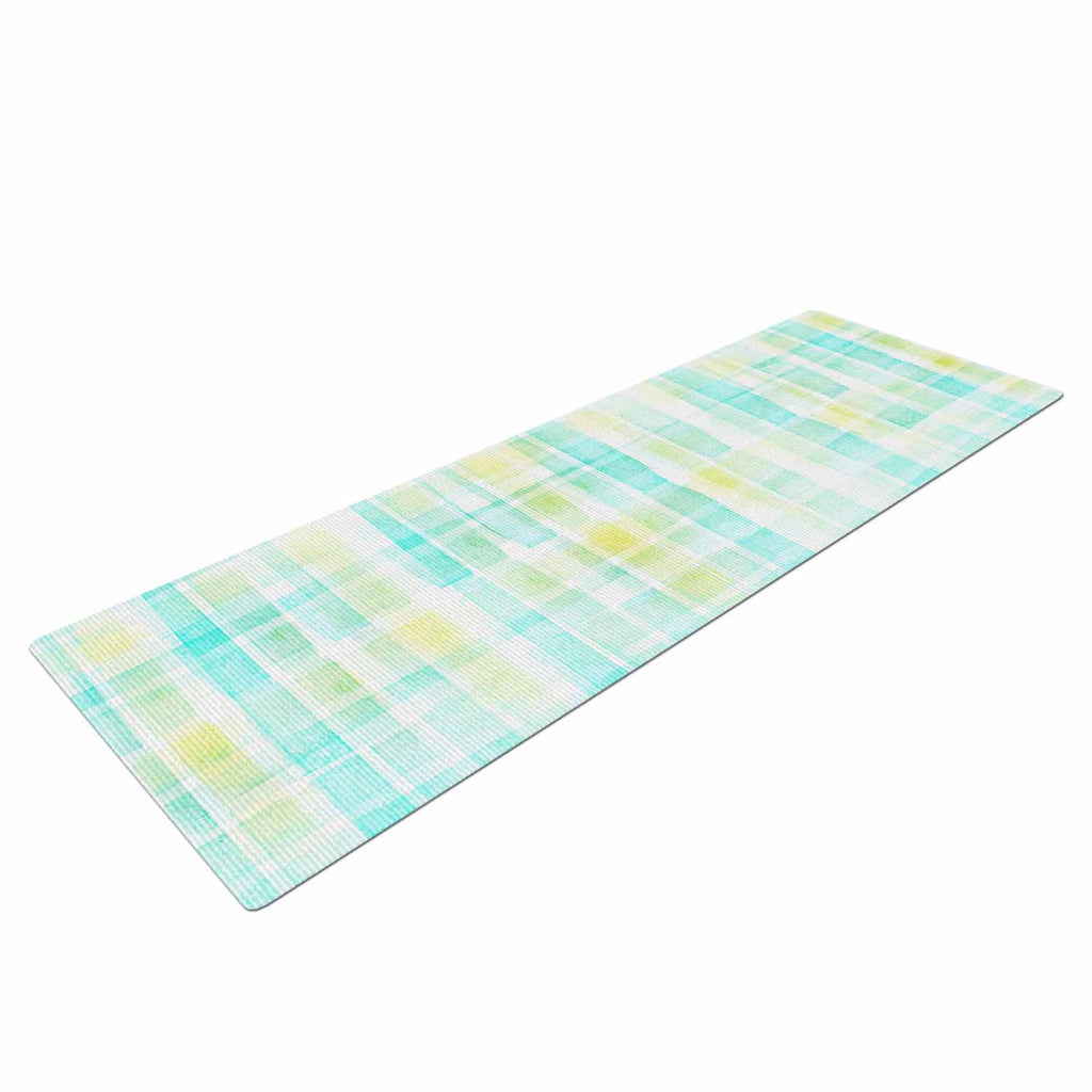 "Michelle Drew ""Watercolour Tartan In Blues"" Teal Green Yoga Mat - KESS InHouse  - 1"