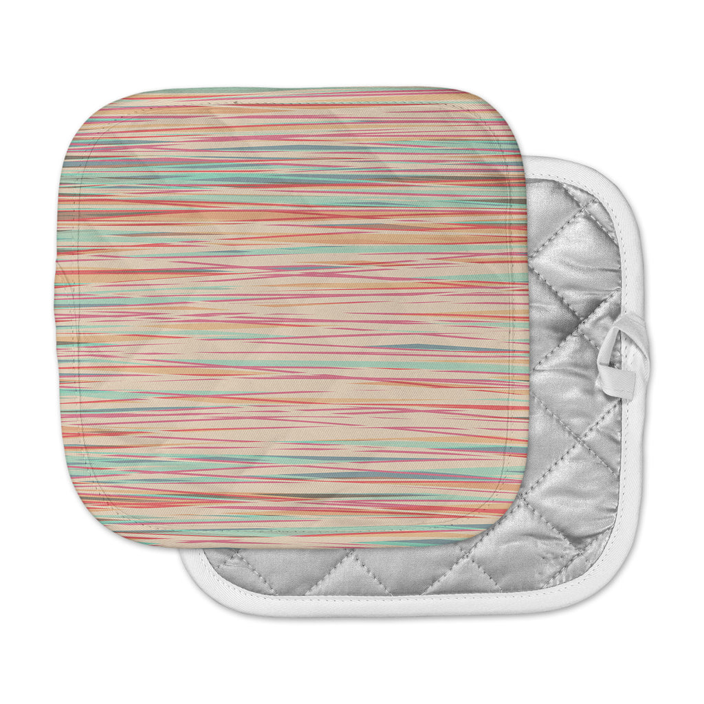 "Michelle Drew ""Stripy Wood Bark"" Coral Stripes Pot Holder"