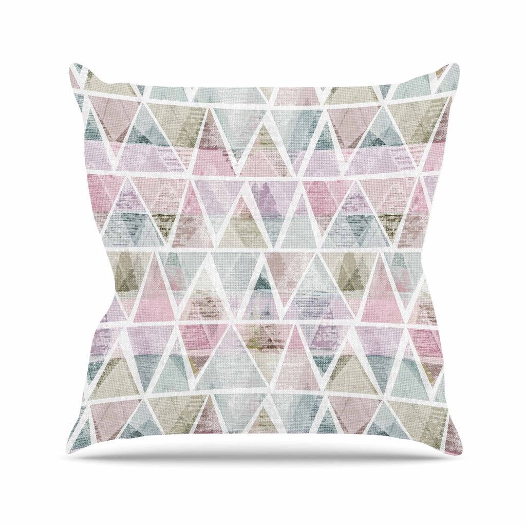"Michelle Drew ""Triangle Mountains"" Pink Lavendar Outdoor Throw Pillow - KESS InHouse  - 1"
