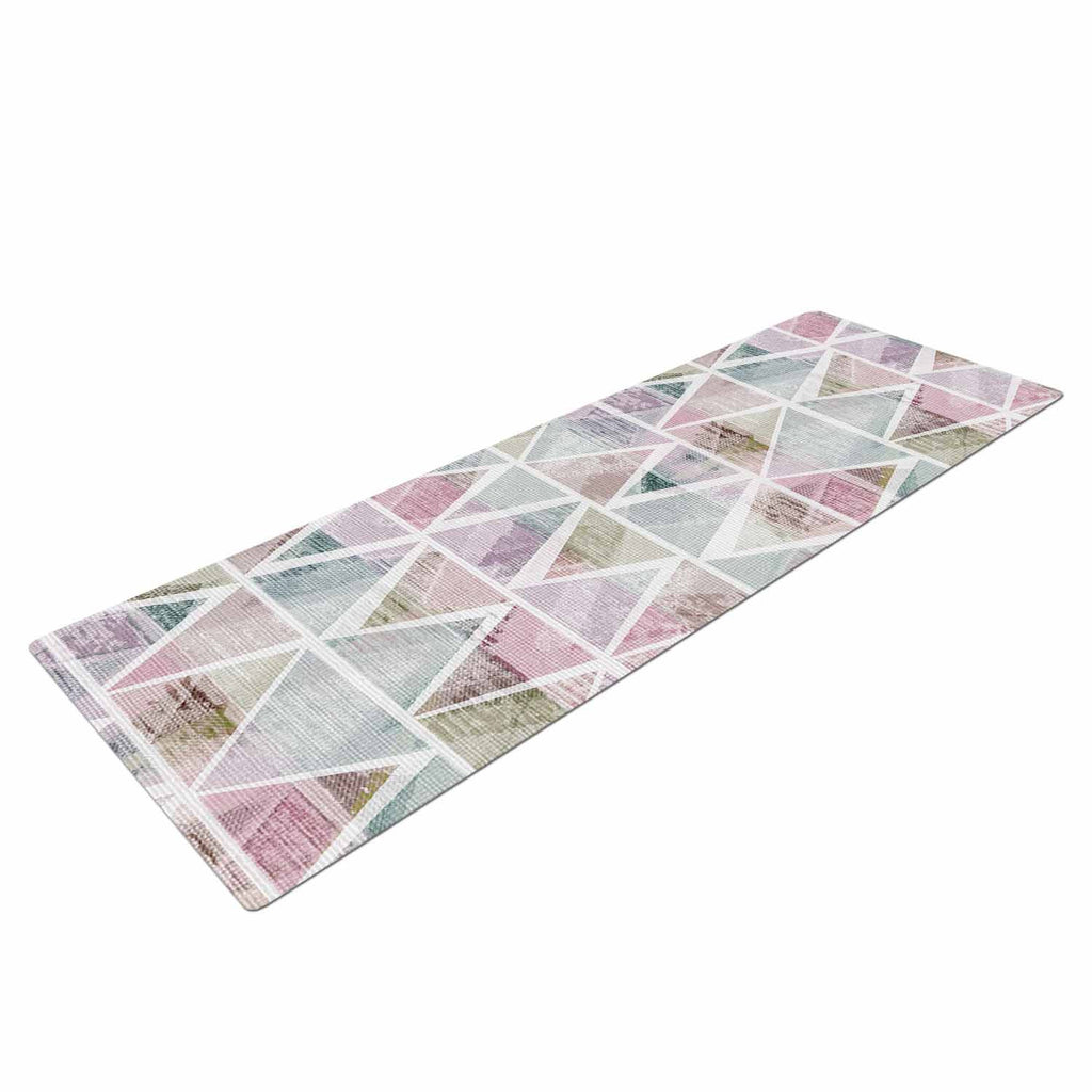 "Michelle Drew ""Triangle Mountains"" Pink Lavendar Yoga Mat - KESS InHouse  - 1"