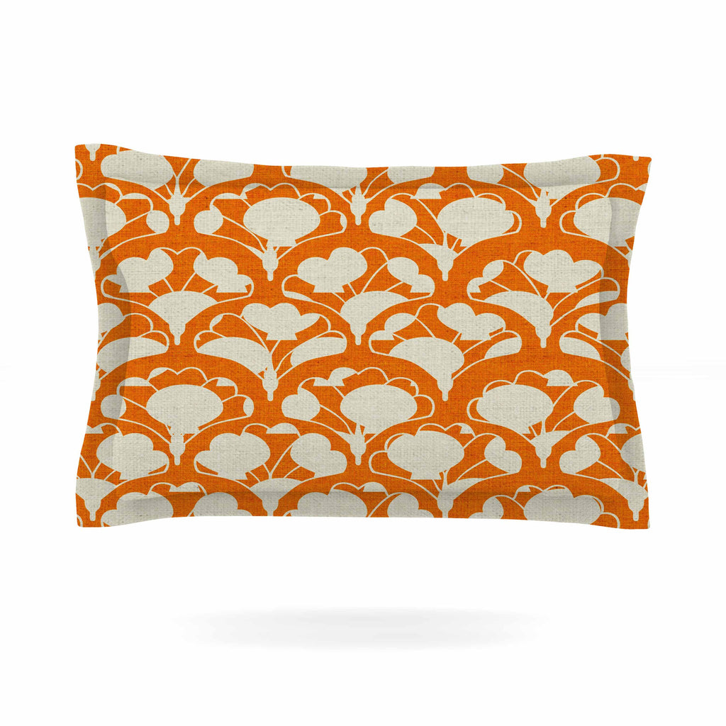 "Michelle Drew ""Art Deco In Orange"" White Pillow Sham - KESS InHouse  - 1"