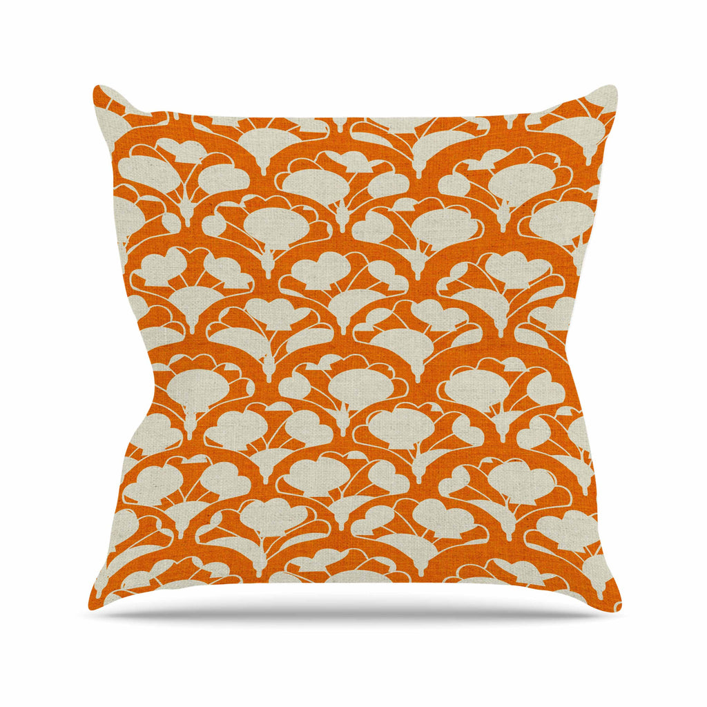 Art Deco In Orange Outdoor Throw Pillow By Michelle Drew Kess