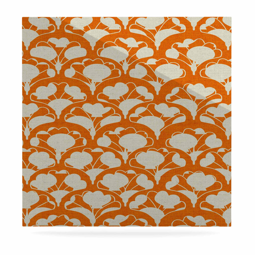 "Michelle Drew ""Art Deco In Orange"" White Luxe Square Panel - KESS InHouse  - 1"