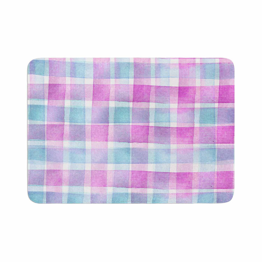 "Michelle Drew ""Watercolour Checked Tartan Sin"" Magenta Plaid Memory Foam Bath Mat - KESS InHouse"