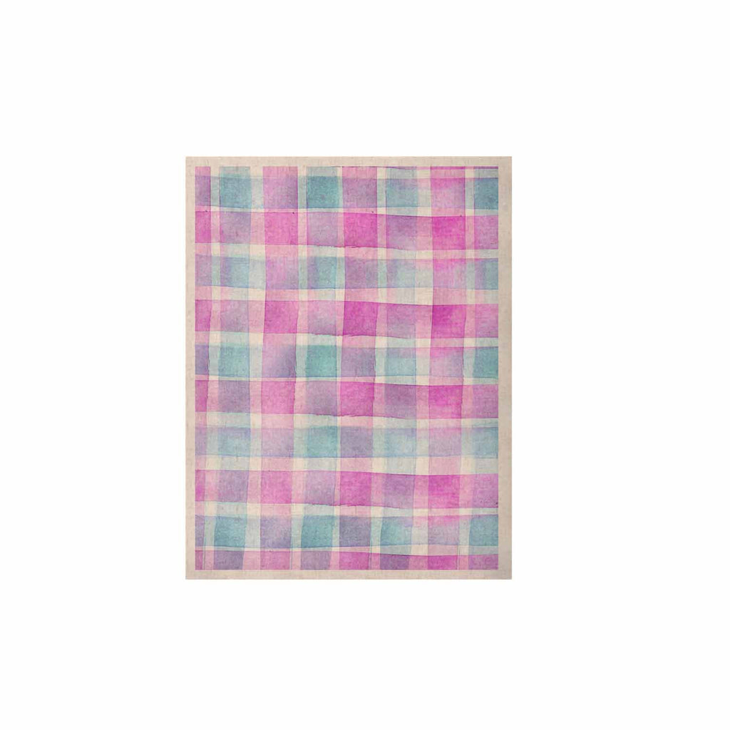 "Michelle Drew ""Watercolour Checked Tartan Sin"" Magenta Plaid KESS Naturals Canvas (Frame not Included) - KESS InHouse  - 1"