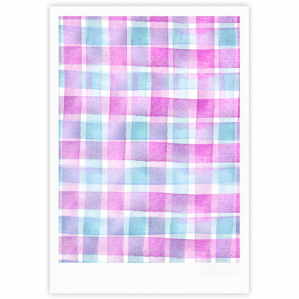"Michelle Drew ""Watercolour Checked Tartan Sin"" Magenta Plaid Fine Art Gallery Print - KESS InHouse"